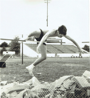 Ken Gullette doing the high jump at Lafayette High School in1970